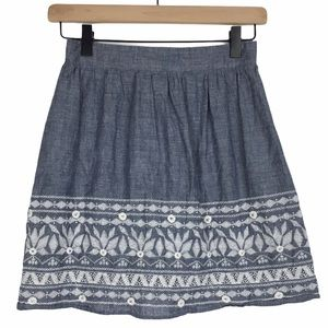 EVERLY Skirt Lucy Chambray Embroidered Boho Small